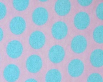 Baby Pink with Aqua Dots Knit Fabric 1 yard