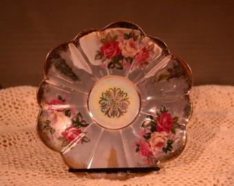 Royal Halsey / Fine China / teacup saucer / floral / roses / iridescent / china / saucer / teacup / pink / blue / vintage / vintage saucer