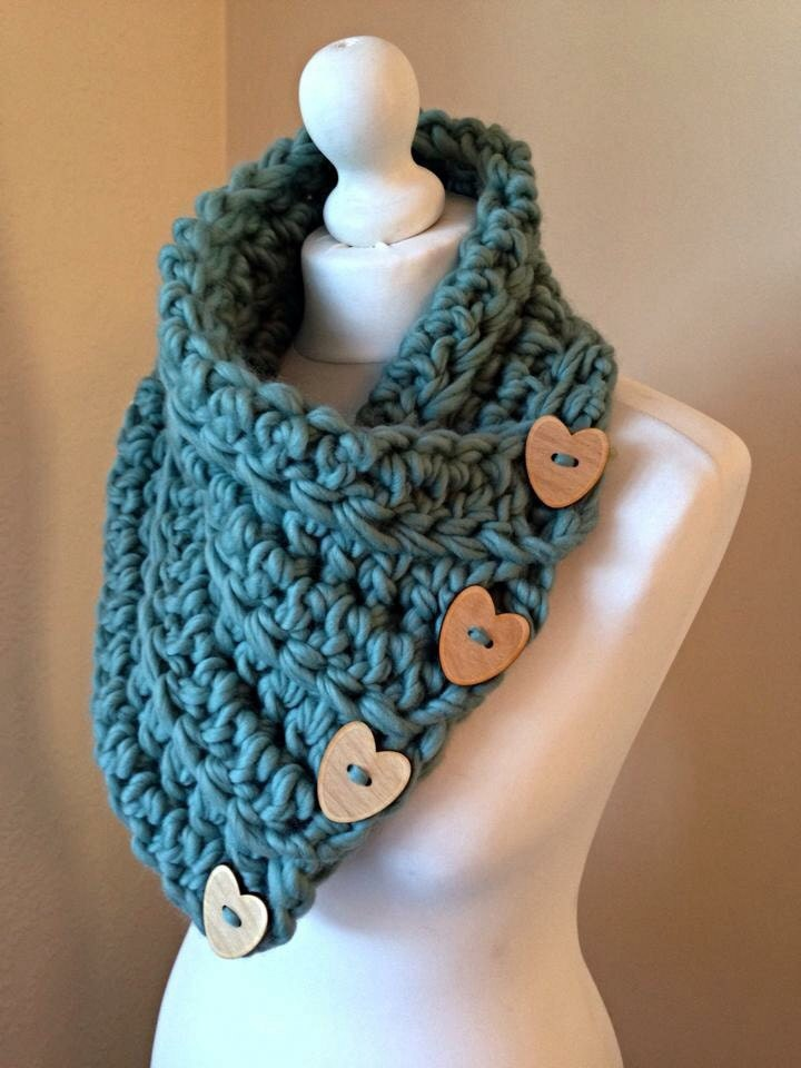 teal green chunky crochet button scarf cowl wrap by