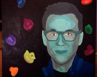 "Fred Armisen acrylic painting 18""x24"" ""Armisen I didn't say banana?"""