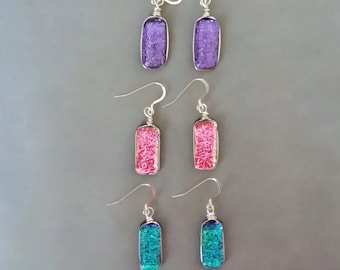 Sparkling Dichroic Glass and Sterling Silver Earrings