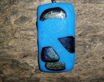 Fused glass pendant-Glass-Blue and black colors-Necklace-Jewelery-Women-Hand made-Accessories-Teen