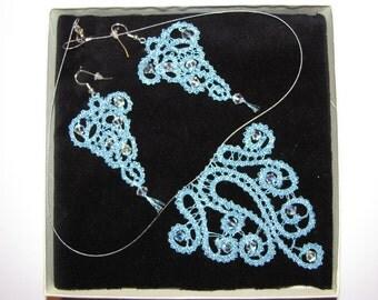 Bobbin Lace Necklace & Earings Set -  Original handmade from Slovenia
