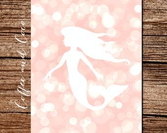 Mermaid Poster, Mermaid Art Print, Printable Wall Art, Instant Download, Bokeh Printable, Pink, Nursery Wall Art, Wall Decor, coffeeandcoco