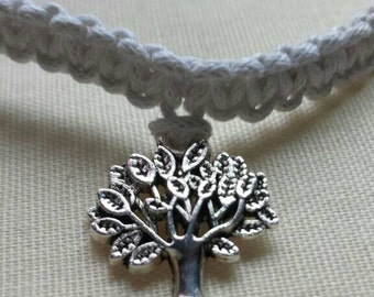 NEW COLOURS ADDED!! Waxed cord cobra knot bracelet with 'Tree of Life' tibetan silver charm.