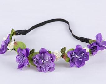 Purple Floral band, Flower Garland, Wreath, Wedding flowers, Bridesmaid hair accessories, Flower girl hairband, bridal flowers, headband hb7