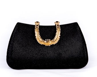 Black wedding clutch, Bridal clutch, Champagne clutch, evening bag, Modern clutch, bridesmaid bag, crystal clutch c8