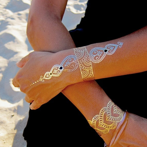 Temporary metallic tattoos gold jewelry silver jewelry for Temporary metallic tattoos