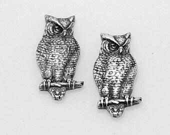 4pcs--Owl, Antique Silver, 18.7x8.5mm (B13-12)