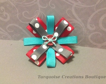 Ribbon Bow Hair Clip-Teal, Grey, Red-Handmade