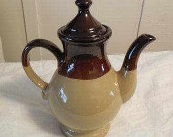 "Ceramic Coffee Pot 9 1/2"", Vintage Serving Coffee Pot, Beige and Brown Glazed Red Clay Coffee Pot"