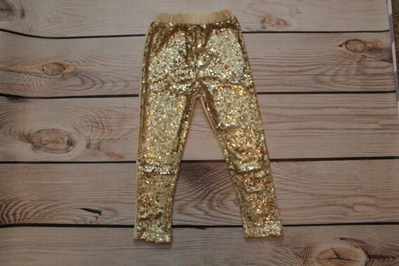 Girls Gold Sequin Leggings Toddler Gold Sparkle By Mmsbling