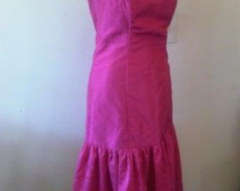 beautiful pink rockabilly party dress, vintage, 1980s classic, gothic siz uk 10