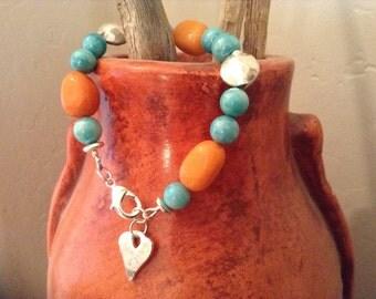 Aqua and Orange Heart Charm Bracelet