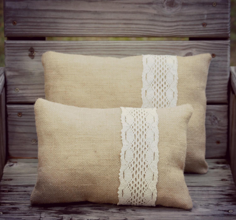 Studio Chic Home Decorative Pillows : Burlap Pillow SET Rustic Pillows Home Decor by 1295MapleAvenue