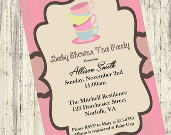 Baby Shower Tea Party Invitation, A Baby is Brewing ,Vintage Stacked Tea Cups,Tea Party Invite, Polka Dot Tea Cups, DIY Tea Party Invite