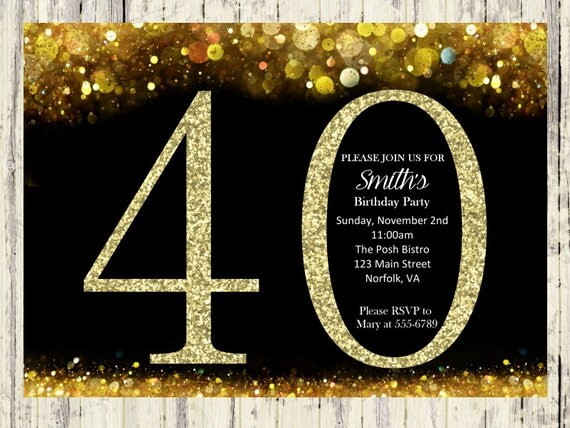 40th Birthday Invitation. Gold Glitter Birthday Party Invite