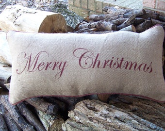 Hand stenciled Holiday Merry Christmas burlap pillow