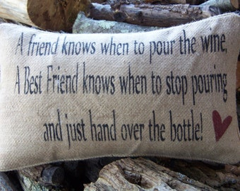 Hand stenciled  burlap pillow