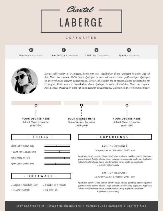 3 Page Resume Template CV Template Cover Letter for MS – Fashion CV Template