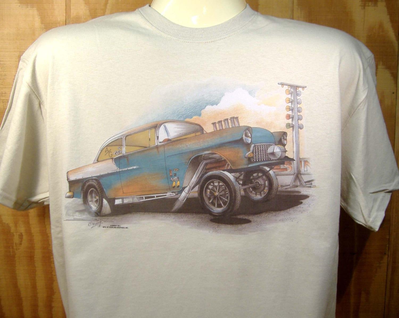 Chevy 39 55 Gasser T Shirt Bel Air Drag Racer 100 Cotton