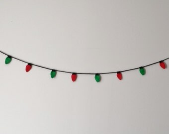 Christmas Lights Felt Garland - Red & Green