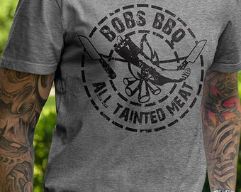 Bob's BBQ T-Shirt Delicious Tainted Meat Zombie Apocalypse