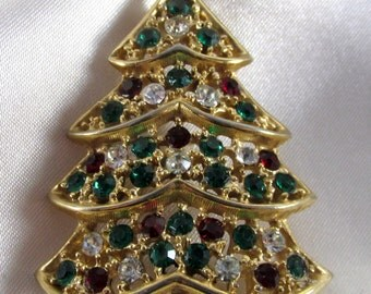 H in a Heart Vintage Christmas Tree Brooch