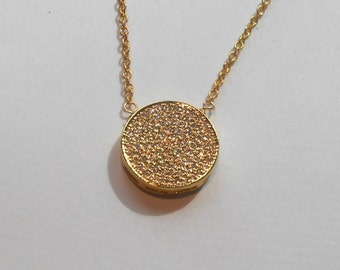 Gold Micro Pave Necklace, Micro Pave Disc Necklace