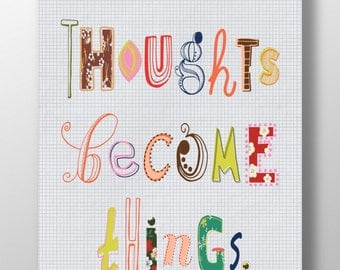 "Printable Quote ""Thoughts Become Things"",Inspirational Wall Art,Typography Poster,Motivational Print,Handmade,DIY,Instant Download"