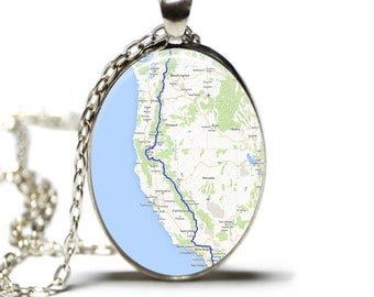 Pacific Crest Trail Map Pendant Map Necklace Map Jewelry Hiking Necklace