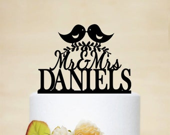 Love Birds Wedding Cake Topper, Personalized Wedding Cake Topper With Your Last Name,Mr and Mrs,Custom wedding cake topper-C031