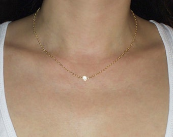 Dainty Crystal Quartz Necklace.  14K Gold Filled or Sterling Silver with Crystal Quartz Stone.