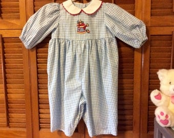 Baby's One piece pullover romper. Blue and white check.