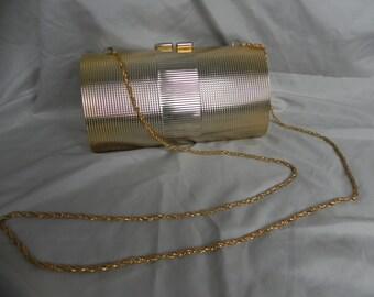 1960's Goldtone Hardshell Formal Clutch Purse
