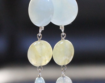 Long Aquamarine March Birthstone Dangle Earrings
