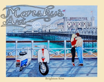 Art print of lambretta scooters on sea front, called 'Brighton Kiss' couple kissing in front of Brighton pier.
