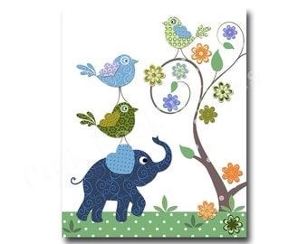 Blue elephant, nursery art, blue green nursery decor, wall art for baby boy room decor, play room decor, nursery artwork, kids room decor