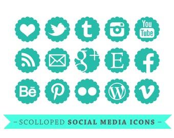 Social Media Icons - for Blogs & Websites - scolloped - teal