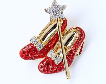 Ruby Slippers Brooch, Crystal Red Shoes Broach, Wizard Of Oz Jewelry, There's No Place Like Home, Somewhere Over The Rainbow