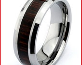 Mens Wood Ring WIth Tungsten Ring Mens Wedding Band Silver Ring Wood inlay Tungsten Coffee Wood inlay Luxury Ring