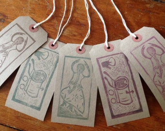 Hand stamped gift labels with gypsy woman and gypsy wagon design