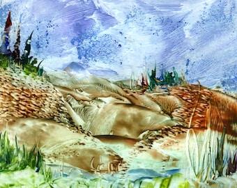 encaustic art scene of stream and rock banks