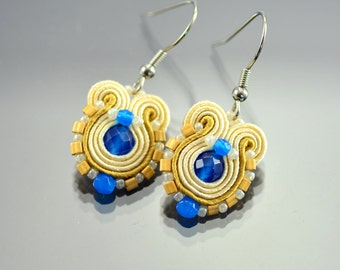 Soutache Earrings, Small Beige Dangle Soutache Earrings, Gold Blue Soutache Earrings, Soutache Jewelry, Soutache Earrings Surgical Steel Ear