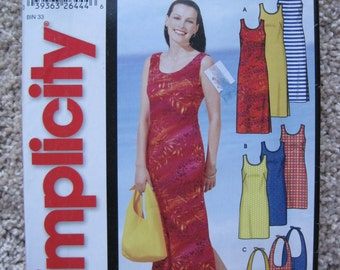 UNCUT Misses Pullover Dress in Two Lengths and Bag - Size Small, Medium, Large, XLarge - Simplicity Pattern 5628