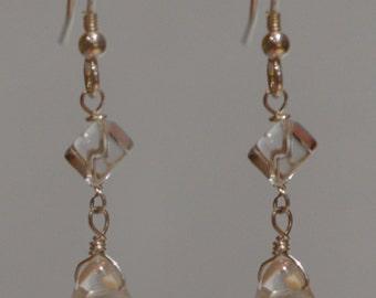 Rock Crystal Tear Drop Earrings Sterling Silver