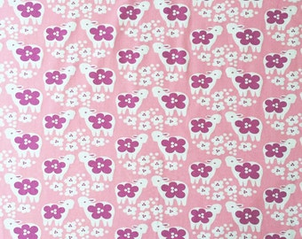 Half Yard Paapii Design Lambs on Pink Organic Cotton Spandex Knit Jersey Fabric [SKU:MFR6FAB002b]