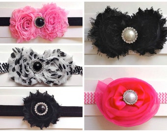 Shabby Flower Headbands (Pick Your Color)