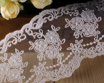14yards double side flower lace tape embroidery mesh lace ribbon trim fabric lace sewing decoden -Col#white  Width#7cm
