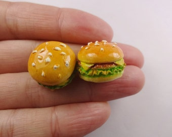 4pcs Kawaii resin hamburger cabochon for phone decoden